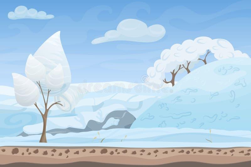 Piękny zimy gry stylu mieszkania krajobrazu tło Bożenarodzeniowi lasowi drewna z wzgórzami i górami royalty ilustracja