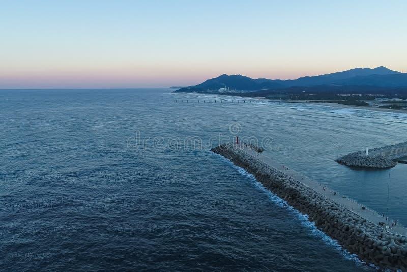 Piękny zmierzch Gangneung Anmok plaża zdjęcie stock