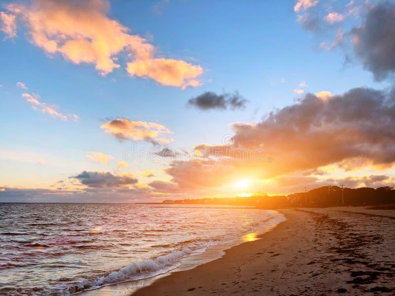 Piękny zmierzch hyannis plażą fotografia royalty free