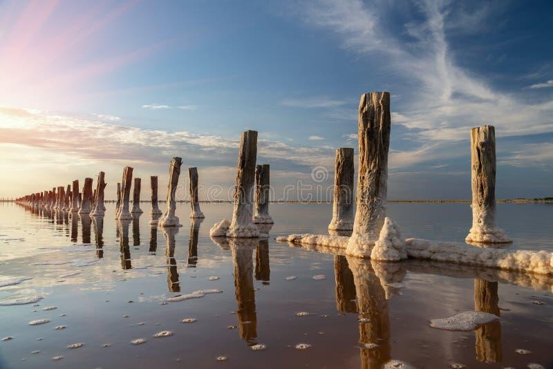 Piękny zmierzch lub wschód słońca nad słonym jeziorem, Drewniany konopie w nagromadzeniu sól po osuszki jezioro fotografia royalty free