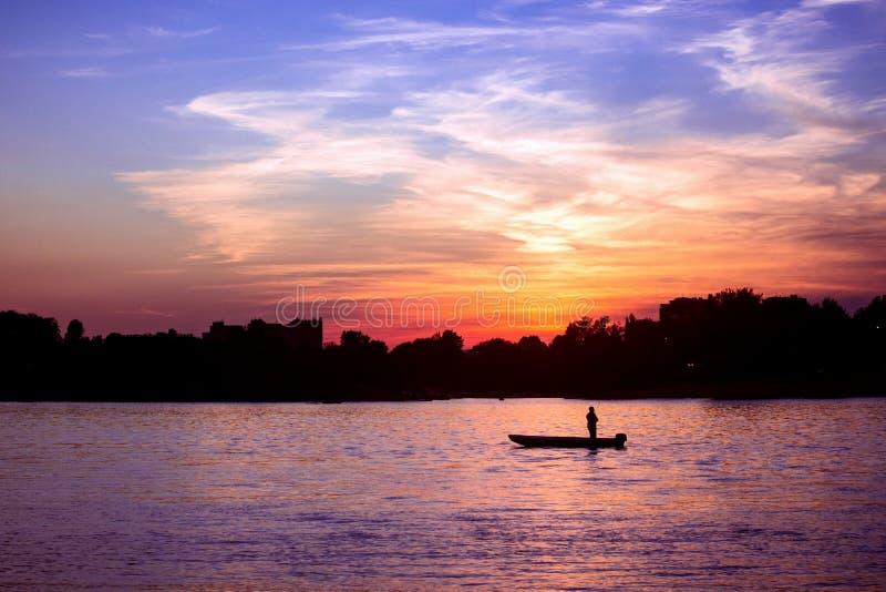 Piękny zmierzch na Danube rzece obraz royalty free
