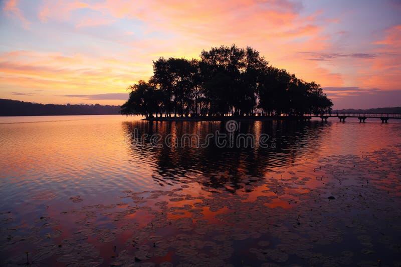 Piękny zmierzch przy jeziorem zdjęcie royalty free