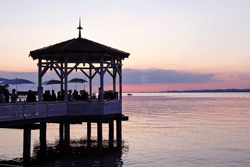 Piękny zmierzch przy Jeziornym Constance obrazy royalty free