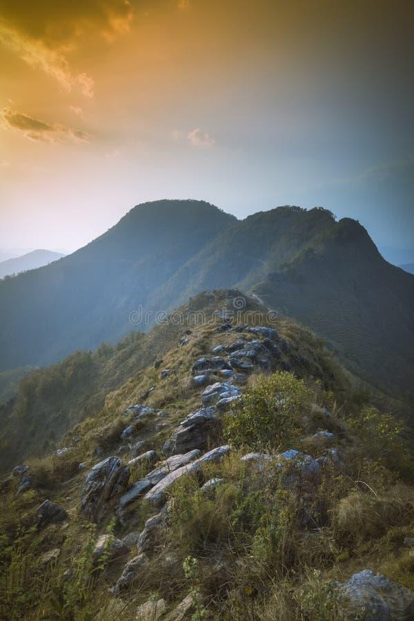 Pi?kny zmierzchu widok od punkt widzenia Bandipur Nepal zdjęcia stock