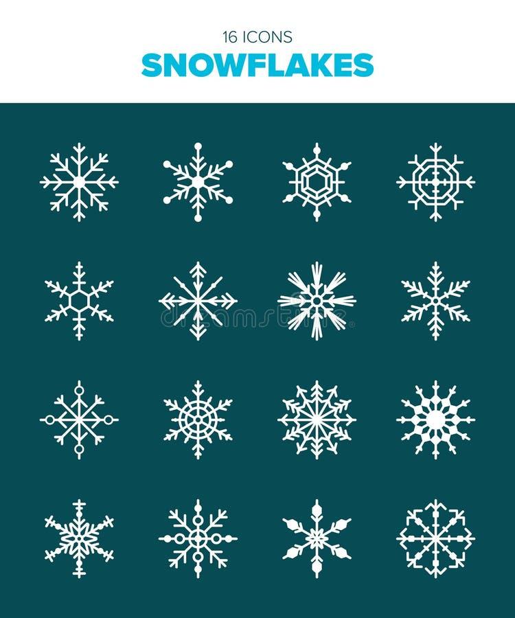 16 pięknych śnieżnych płatków royalty ilustracja