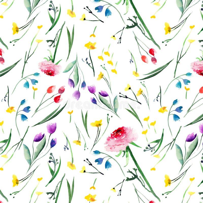 Pięknych delikatnych jaskrawych kwiecistych kolor żółty menchii czerwoni fiołkowi purpurowi błękitni delphiniums różani i cornflo ilustracji