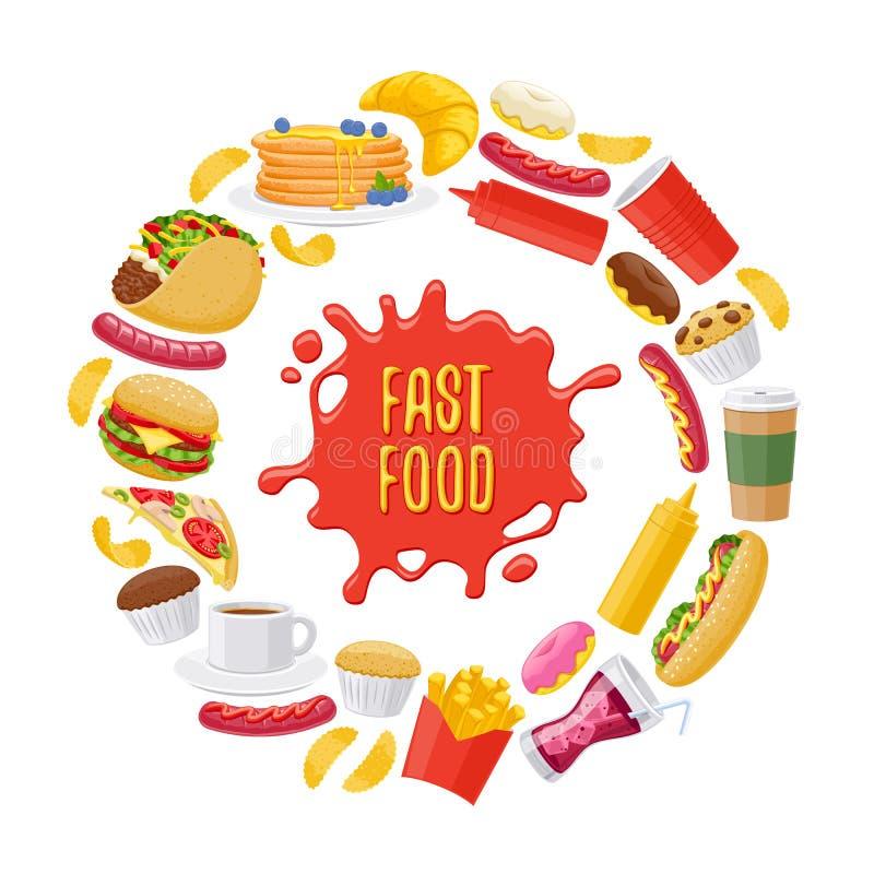 Pięknych fast food ikon round tło ilustracji