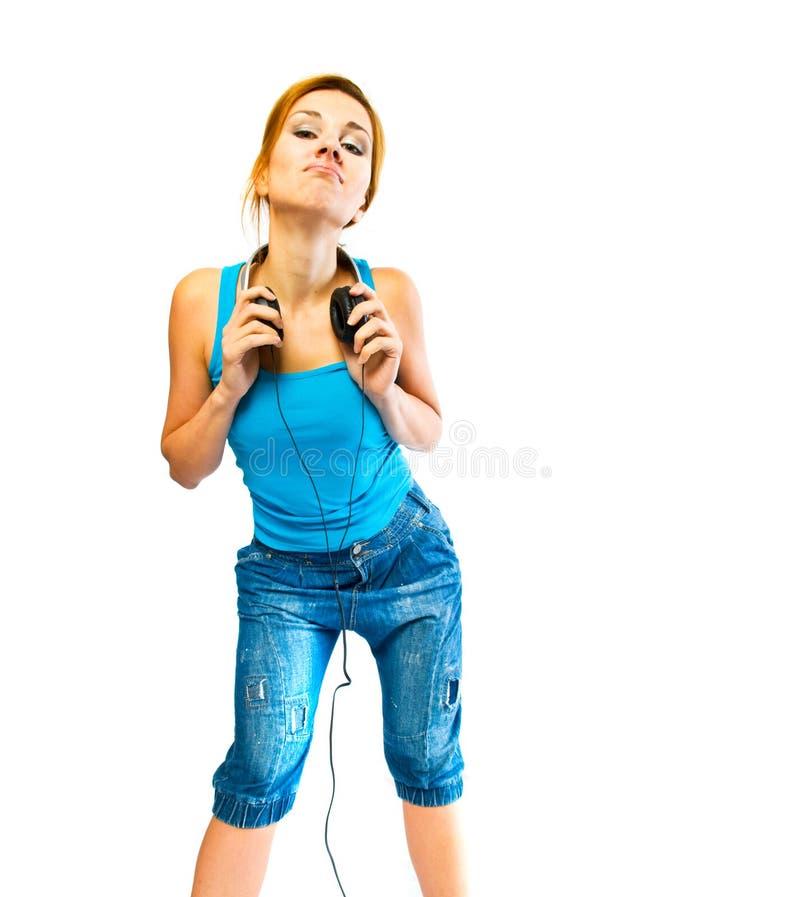 pięknych hełmofonów plciowa kobieta zdjęcie stock
