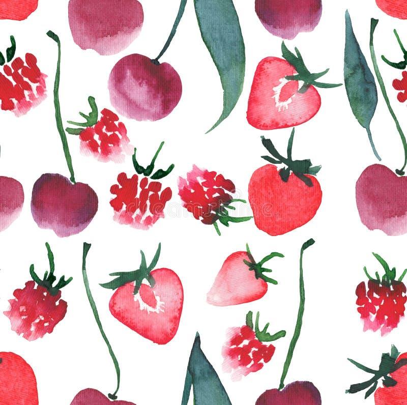 Pięknych jagod truskawki czereśniowy malinowy wzór ilustracja wektor