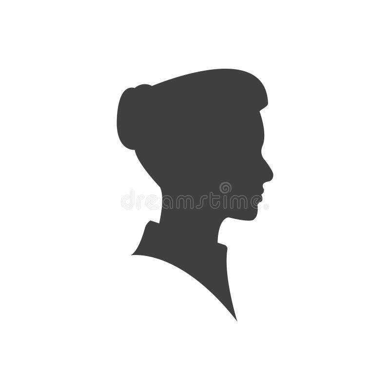 Pięknych kobieta profilu sylwetek twarzy wektorowy młody żeński projekt, piękno dziewczyny głowa, mody damy grafiki portret ilustracji