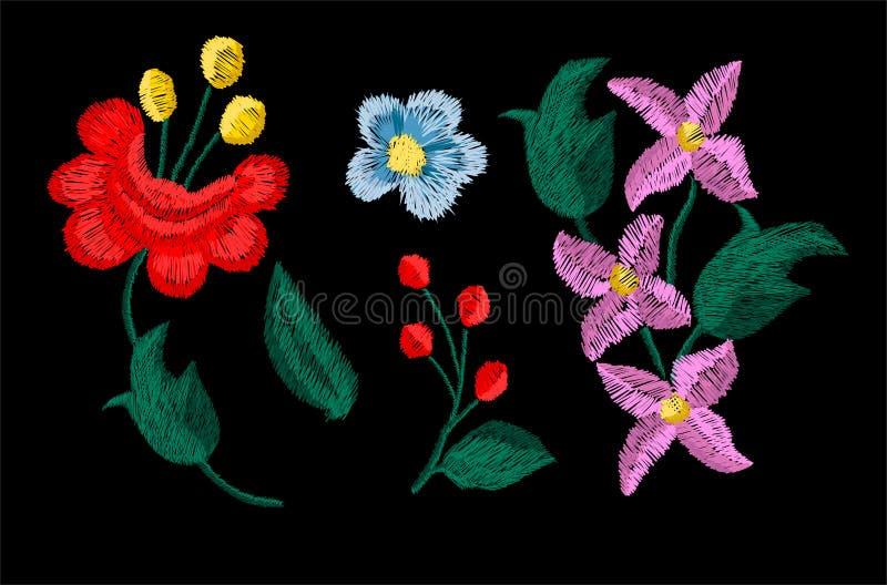 Pięknych kwiatów hafciarski wektor dla tekstylnych projektów elementów royalty ilustracja
