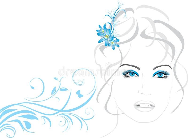 pięknych kwiatów włosiana portreta kobieta ilustracja wektor