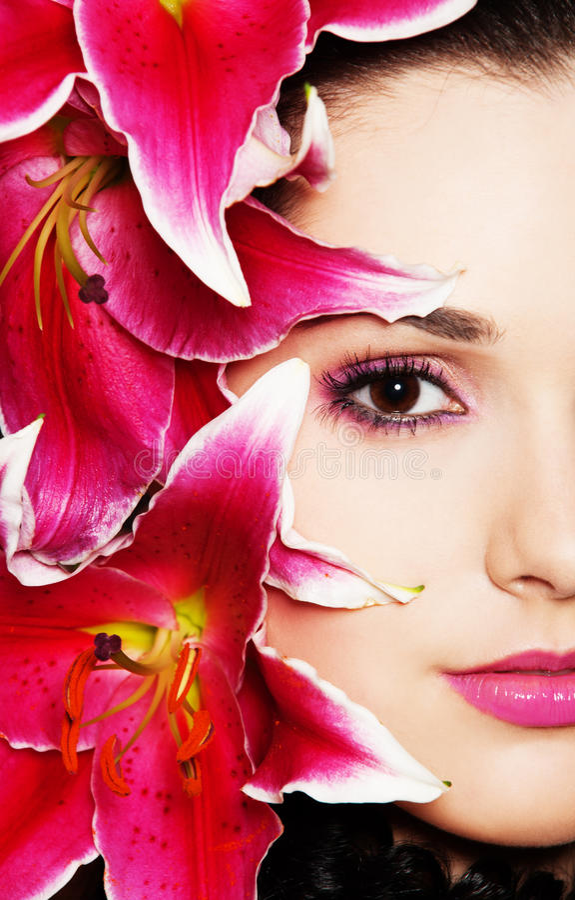 pięknych leluj różowa kobieta zdjęcia stock