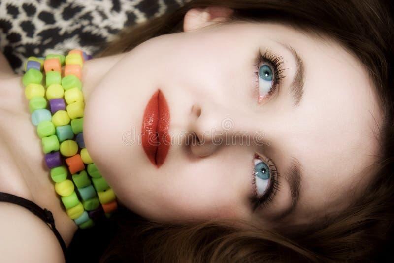 pięknych niebieskich oczu warg czerwoni kobiety potomstwa obrazy royalty free