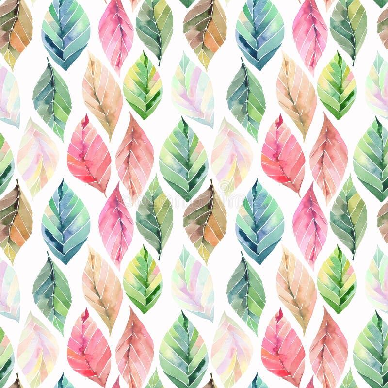 Pięknych uroczych ślicznych cudownych graficznych jaskrawych kwiecistych ziołowych jesieni pomarańcze zieleni żółtych liści akwar ilustracji