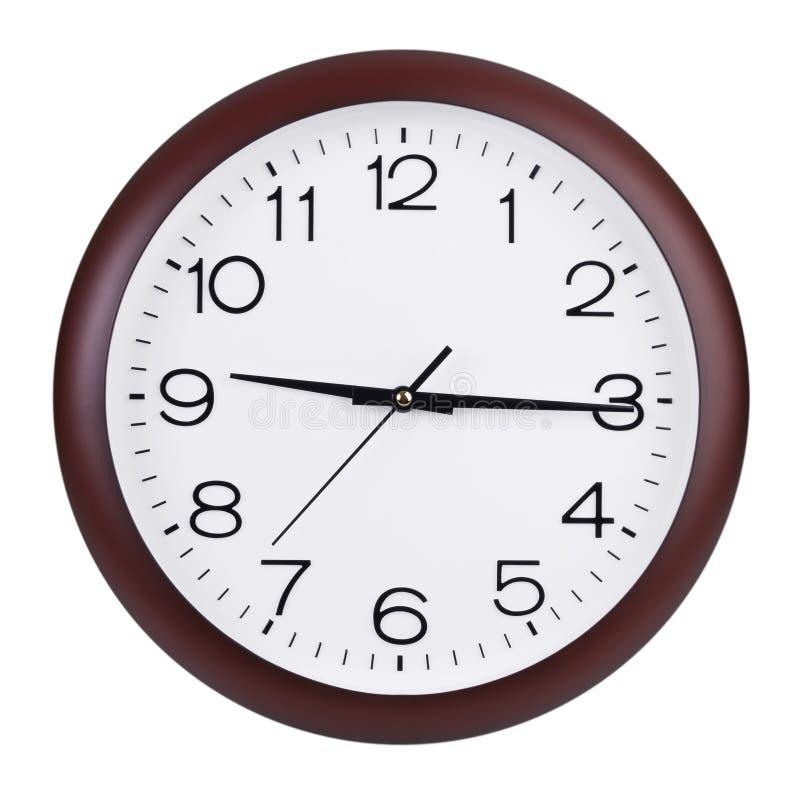 Piętnaście minut za dziewięć na round zegarze zdjęcia royalty free