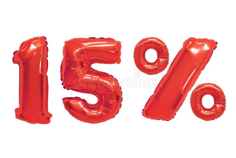Piętnaście procentów od balonu czerwonego koloru royalty ilustracja