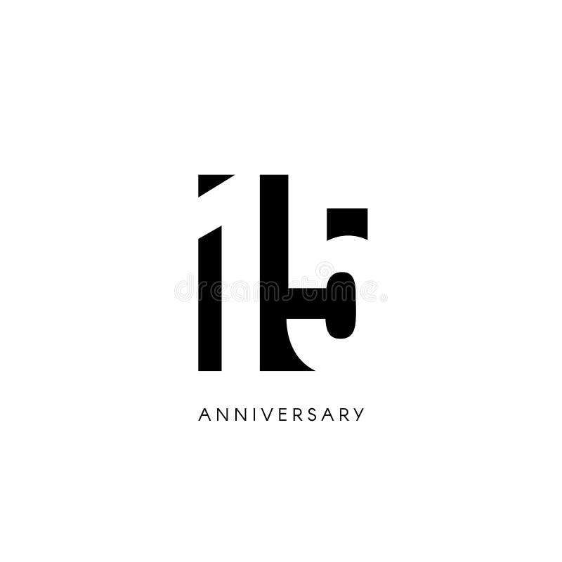 Piętnaście rocznica, minimalistic logo Fifteenth rok, 15th jubileusz, kartka z pozdrowieniami Urodzinowy zaproszenie 15 rok znak ilustracja wektor
