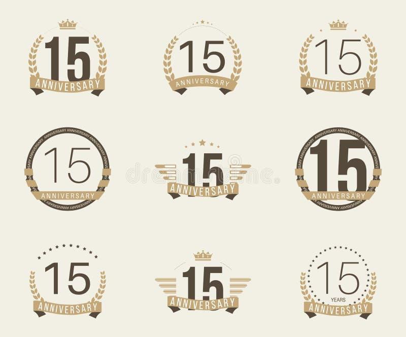 Piętnaście rok rocznicowego świętowanie logotypu 15th rocznicowa logo kolekcja ilustracji