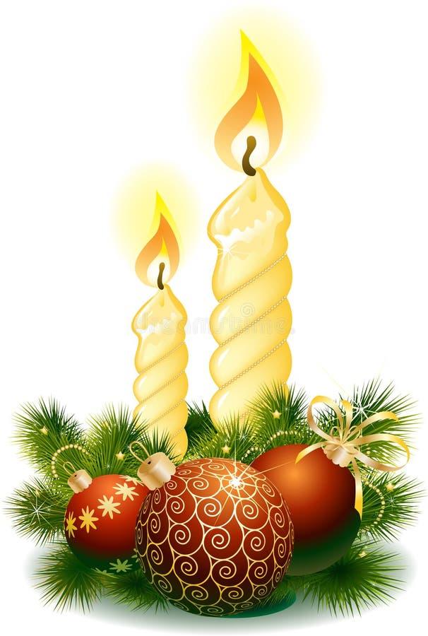 piłek świeczki boże narodzenia royalty ilustracja