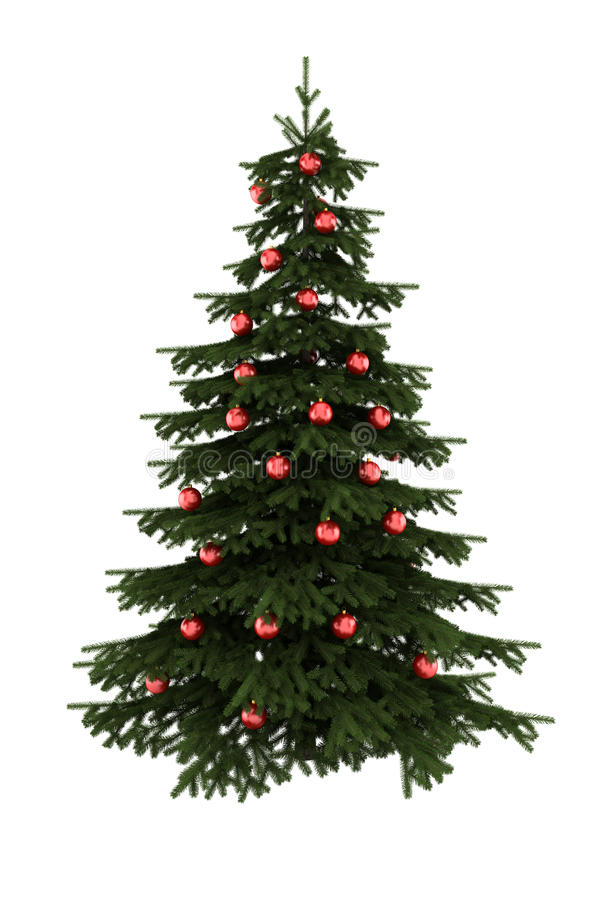piłek bożych narodzeń odosobniony czerwony drzewny biel obrazy royalty free