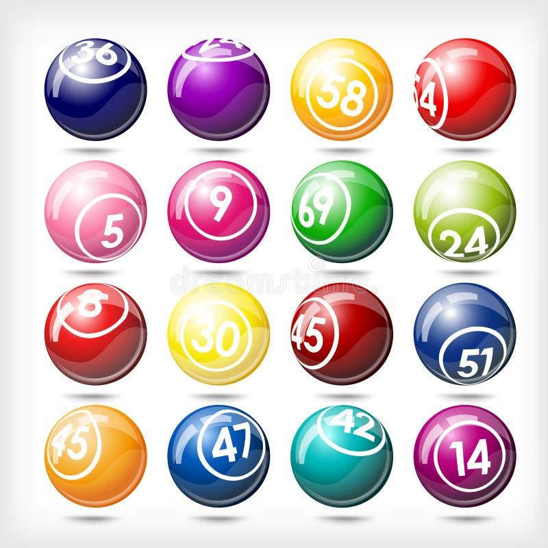 piłek duży bingo kolorowy loteryjny set ilustracja wektor