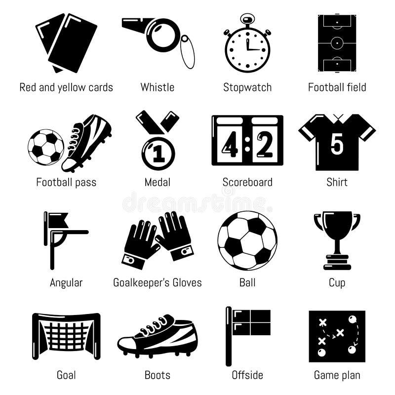 Piłek nożnych futbolowe ikony ustawiać, prosty styl ilustracja wektor