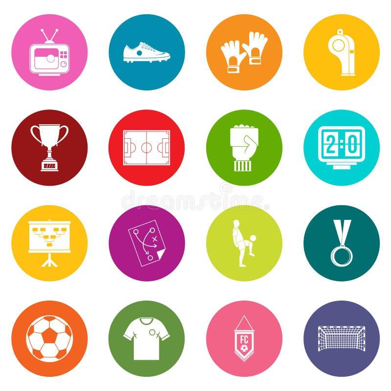 Piłek nożnych futbolowe ikony wiele kolory ustawiający ilustracja wektor