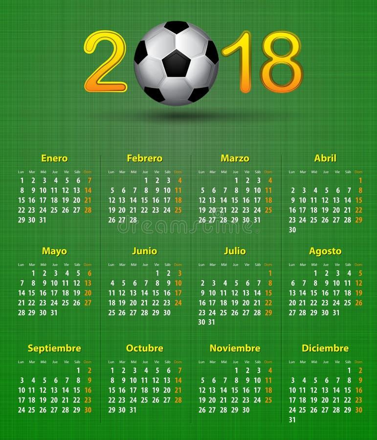 Piłek nożnych hiszpańszczyzn kalendarz dla 2018 na zielonej bieliźnianej teksturze Footbal ilustracji