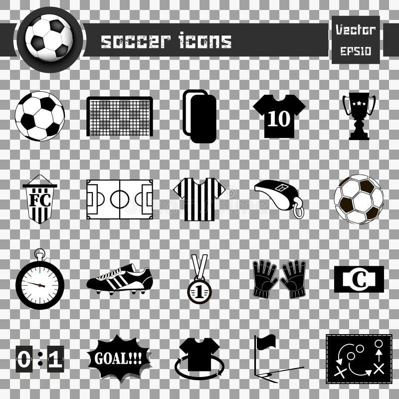 Piłek nożnych ikony 2 postaci ustawiać futbolowe szare ikony ilustracji