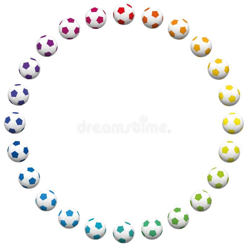 Piłek nożnych piłek Round Ramowej tęczy Barwioni futbol ilustracji