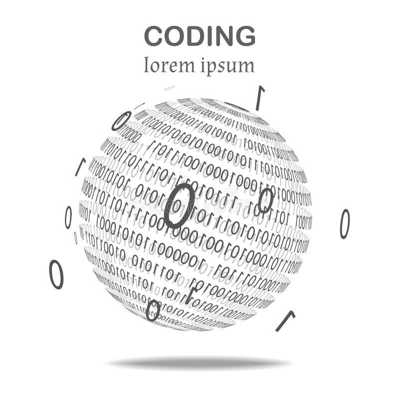 Piłka binarny kod, czarny i biały royalty ilustracja