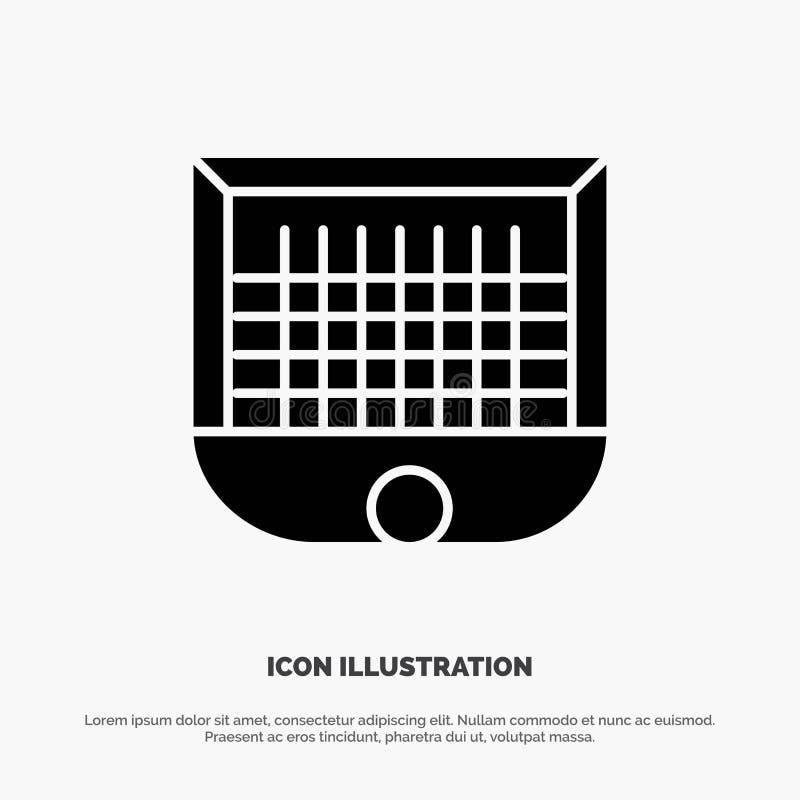 Piłka, brama, słupek bramki, sieć, piłka nożna glifu ikony stały wektor ilustracji