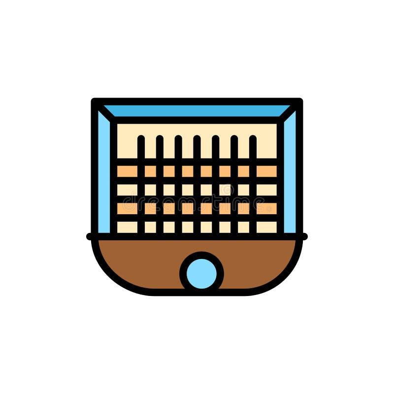 Piłka, brama, słupek bramki, sieć, piłka nożna koloru Płaska ikona Wektorowy ikona sztandaru szablon ilustracja wektor