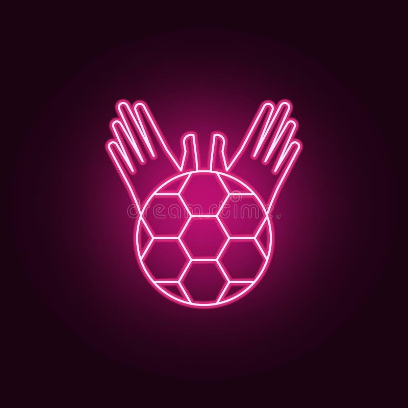 piłka, bramkarz i s rękawiczek neonowa ikona « Elementy mistrzostwa 2018 set Prosta ikona dla stron internetowych, sie? projekt,  royalty ilustracja