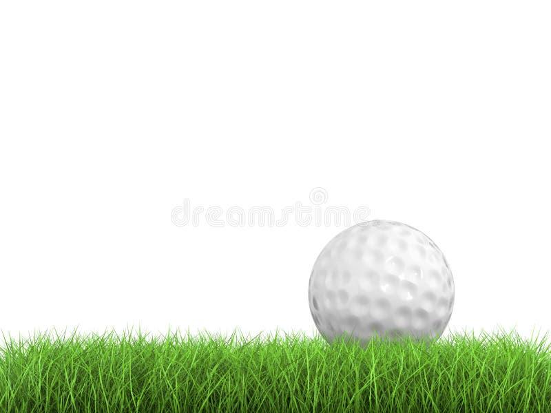Piłka golfowa na zielonej trawy bocznym widoku obraz stock