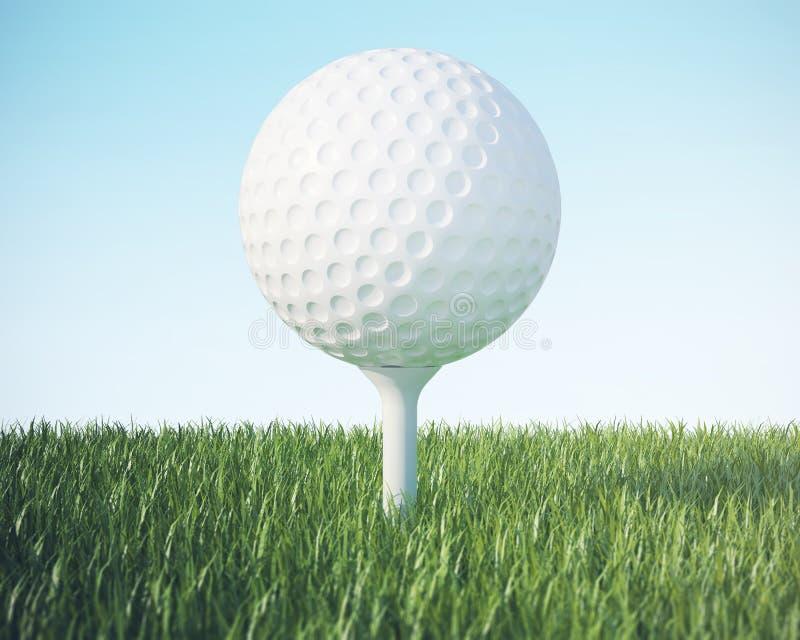 Piłka golfowa na zielonym gazonie na niebieskiego nieba tle, 3d ilustracja wysoka rozdzielczość zdjęcie royalty free