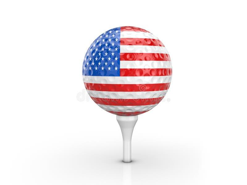 Piłka golfowa usa flaga ilustracja wektor
