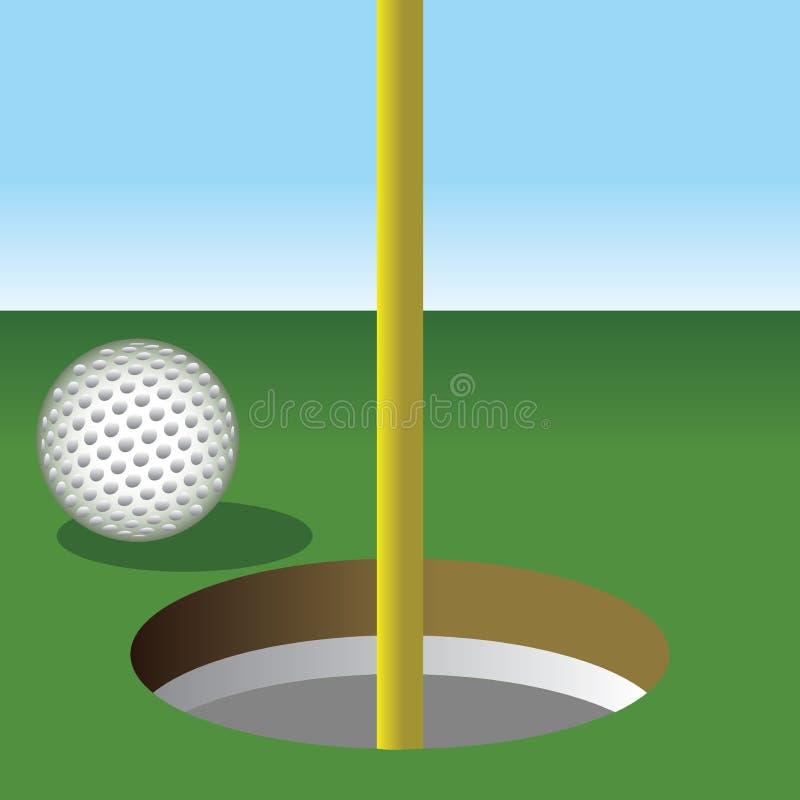 Piłka golfowa wokoło dostawać w dziurę royalty ilustracja