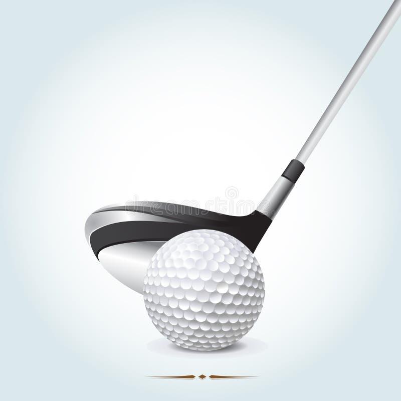 Piłka golfowa z klubem ilustracja wektor