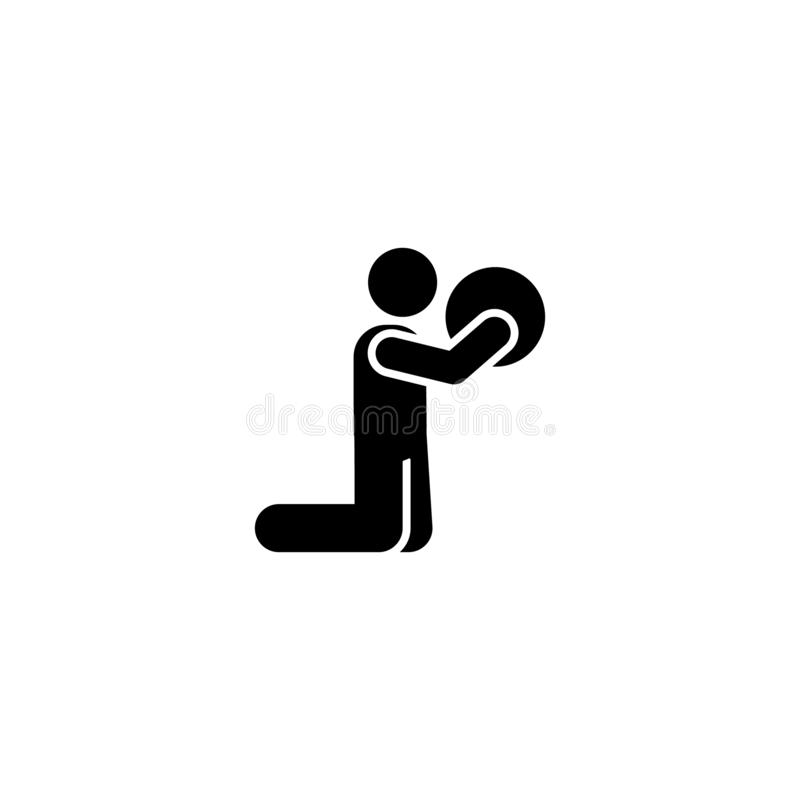 Piłka, gym, mężczyzna, bawi się ikonę Element gym piktogram Premii ilo?ci graficznego projekta ikona Znaki i symbol kolekci ikona royalty ilustracja