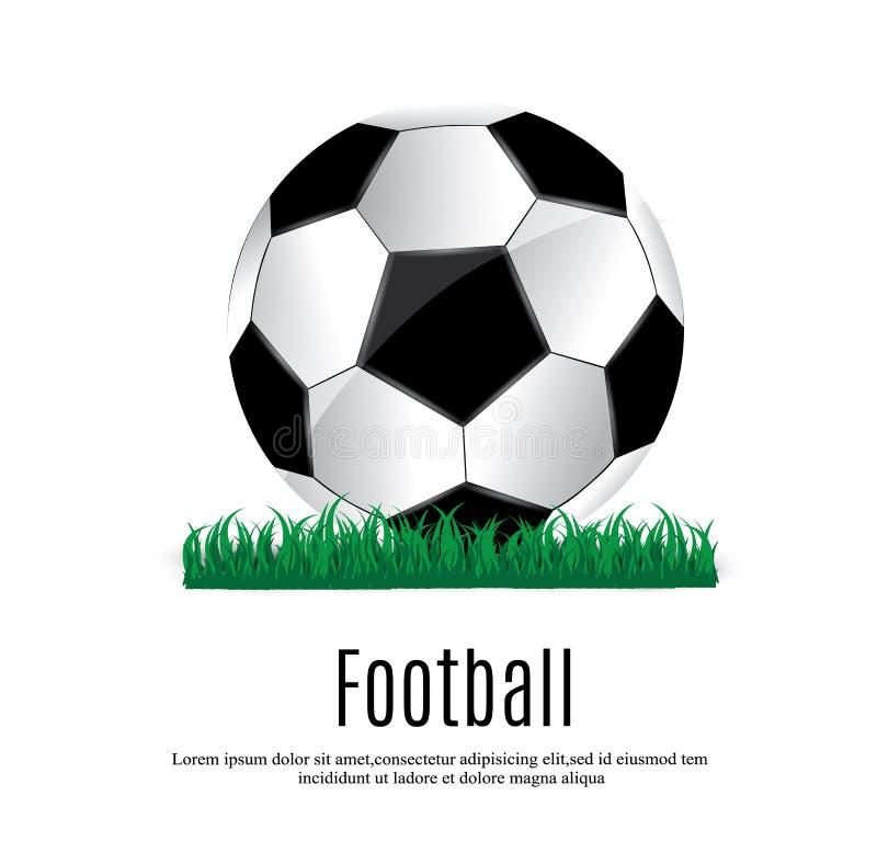Piłka kłama na trawie Futbolowy dopasowanie również zwrócić corel ilustracji wektora Zielona trawa i Piłka nożna liga ulotka royalty ilustracja
