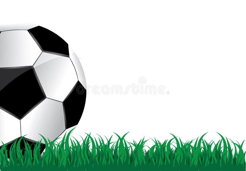 Piłka kłama na trawie Futbolowy dopasowanie również zwrócić corel ilustracji wektora Zielona trawa i Piłka nożna liga ulotka ilustracja wektor