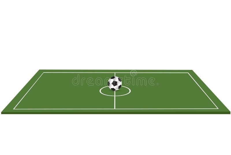 Piłka kłama na trawie Futbolowy dopasowanie również zwrócić corel ilustracji wektora Zielona trawa i Piłka nożna liga ulotka ilustracji