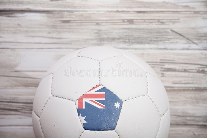 Piłka nożna: Australijski piłki nożnej piłki tło Dla zawody międzynarodowi Comp zdjęcie stock