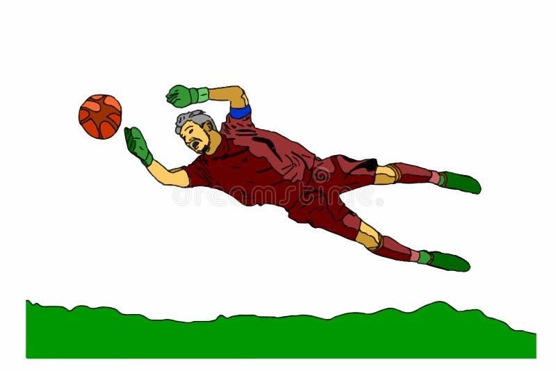 Piłka nożna bramkarz na białym tle ilustracji