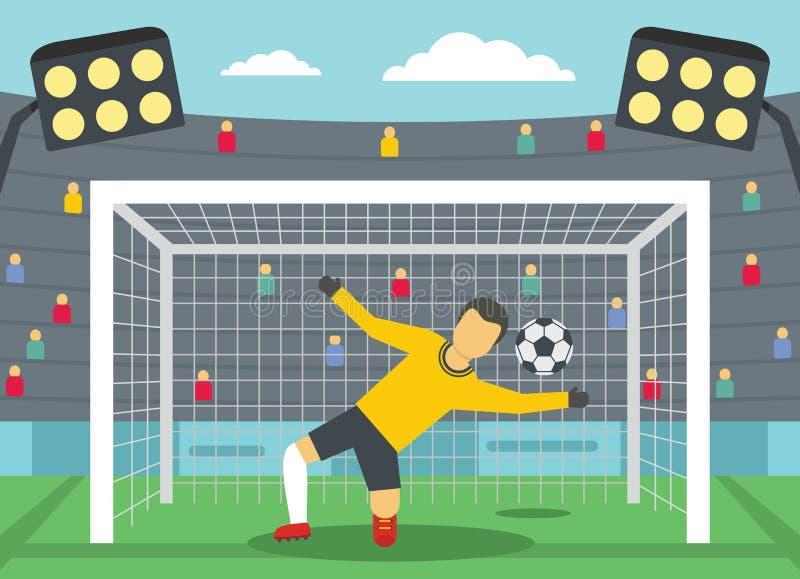 Piłka nożna bramkarz na stadium pojęciu, mieszkanie styl royalty ilustracja