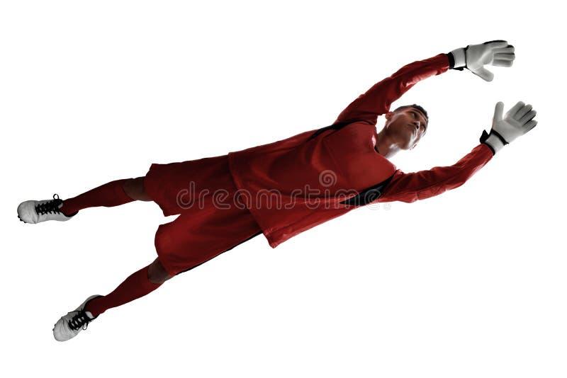 Piłka nożna bramkarz odizolowywający na białych tło zdjęcie stock