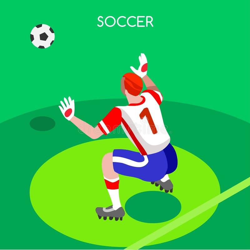 Piłka nożna bramkarza lata gier 3D wektoru ilustracja royalty ilustracja