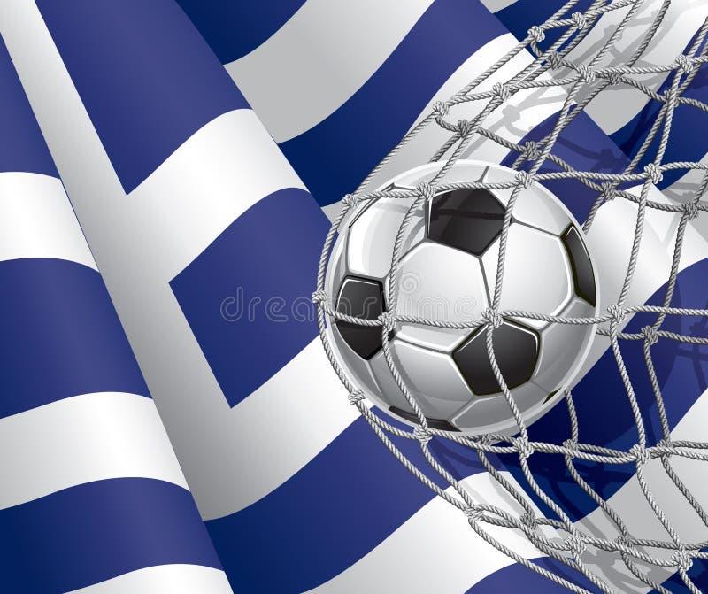Piłka nożna cel. Grek flaga z piłki nożnej piłką. royalty ilustracja